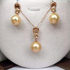 18K钻石南洋金珍珠套装